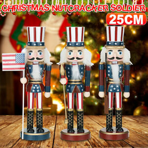 25cm Christmas Wooden Nutcracker Doll Soldier Handcraft Puppet Decorative Gifts