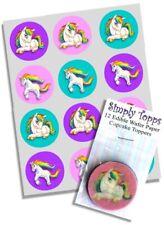 Cupcake Toppers Unicorn Rainbow 12 Precut Rice Paper Cupcake Decoration 40mm