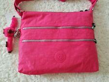 Kipling Nylon Alvar Crossbody Shoulder Bag Vibrant Pink Monkey Keychain NWT