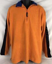 Vtg 90s Mens Nautica Competition Spell Out Fleece Jacket Pullover Orange Medium