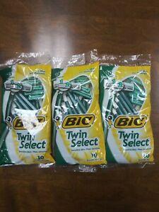 BIC MENS RAZOR TWIN SELECT 10 PACK (LOT OF 3) 30 RAZORS TOTAL BRAND NEW