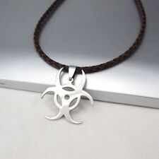 Silver Biohazard Poison Stainless Steel Pendant Brown Braided Leather Necklace