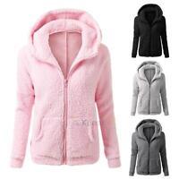 Woman's Fluffy Plush Hoodie Fleece Jacket Warm Autumn Winter ...