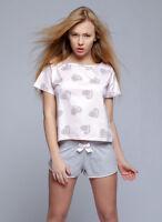 """Pyjama short et t-shirt femme romantique motifs """"coeur"""" lingerie Sensis lara"""