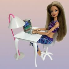 Barbie Doll Dollhouse Furniture Diorama Set Computer Desk Laptop Office Chair