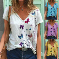 Summer Women Short Sleeve Butterfly Blouse Print T-Shirt Tunic Loose Tops Casual