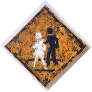 Klassy Signed Oil Painting on Canvas Street Crossing Sign Los Angeles Urban Art