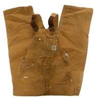 Carhartt Duck Bib Overalls Unlined Double Knee Size 40X32 R01 Brown Work