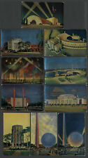 1939 World's Fair New York City: Lot of 10 METALITE FOIL PRINTED POSTCARDS