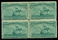 US #232 3¢ Columbian, Block of 4, og, 2NH/2LH, VF, Scott $295.00,