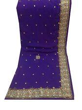 Om Vintage Dupatta Chiffon  Hand Beaded Blue Scarves Stole Hijab Veil XAD-1238