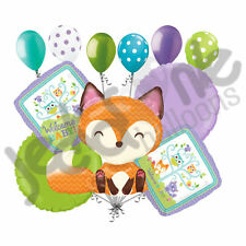 11 pc Woodland Welcome Baby Balloon Bouquet Party Decoration Shower Boy Girl Fox