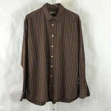 Burberry London Mens Long Sleeve Shirt Brown Striped Made in USA Size XL