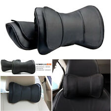 2 Pcs Black Double Layer Bow Leather Car SUV Neck Rest Cushion Headrest Pillows