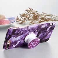 Luxury Marble Pattern Pop Up Grip Stand Holder Case Cover For Apple iPhone 6s 7