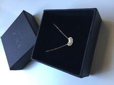 ER.Z 14K Rose Gold Swarovski Crystal Bean Pendant Fine Chain Necklace Adjustable
