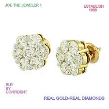 Diamond Fancy Flower Earrings 0.25 CTW/10K Yellow Gold Screw backs NEW SI1,G NEW