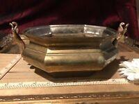 "Brass Octagon Bowl w/ Antelope Head Handles 8 3/4""x5 1/8"""