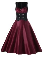 Women's Sleeveless Maroon/Black Vintage Skater Dress -Size 8. Great Party Dress!