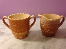 L.G. Wright Fenton Wreathed Cherry Chocolate Sugar & Creamer     g5