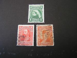 NEWFOUNDLAND, SCOTT # 79/80(2)+83, TOTAL 3 1897-1901 ROYAL FAMILY  ISSUE USED