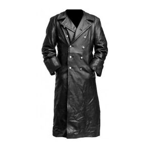 GERMAN CLASSIC OFFICER MILITARY UNIFORM MENS BLACK REAL LEATHER WINTER LONG COAT