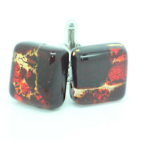 Murano Glass Cufflinks Dark Red Gold Square Handmade Cuff Links from Venice