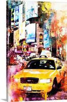 NYC Watercolor Collection - Crazy Night Canvas Art Print