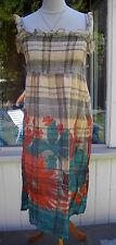 Springfield Kleid Stretch gesmokt Beige Grün Gr 38 - 40