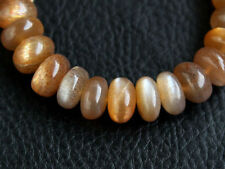 AAA Natural Moss Brown Moonstone Smooth Rondelle Gemstone Beads 8pcs