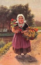 R229403 Woman. Flowers. Basket. Painting. W. de Haan. Series 59. 4 dessins. 1908