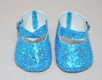 "Fits American Girl Dolls Our Generation 18"" Doll Clothes Blue Glitter Shoes"