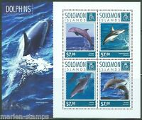 SOLOMON ISLANDS 2014 DOLPHINS SHEET  PERFORATED MINT NH