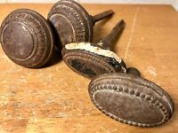 Antique Victorian Metal Doorknobs Round and Oval - 2 Sets