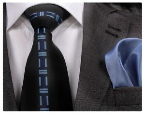 ITALIAN DESIGNER BLACK & BLUE CENTRAL MOTIF SILK TIE & HANKY