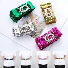 Fashion Women Elastic Buckle Belt  Bling Sequins Waistband Clothing Decorations