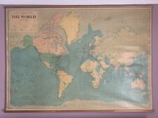 More details for 1971 huge wall world map on wooden rollers by george philip 190 cm x 135 cm