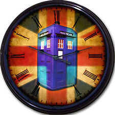 Doctor Who Tardis Wall Clock Whovian Police Box Union Jack Time Travel London UK