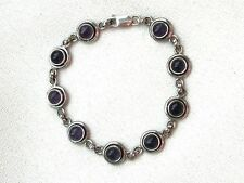 AMETHYST Bracelet -  9 gemstones -  in  silver setting