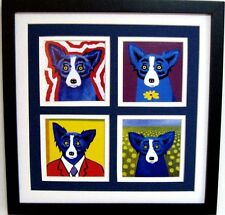 "GEORGE RODRIGUE BLUE DOG NOTE CARD COLLAGE - TRIPLE MATTED - 13.5"" x 13.5"""