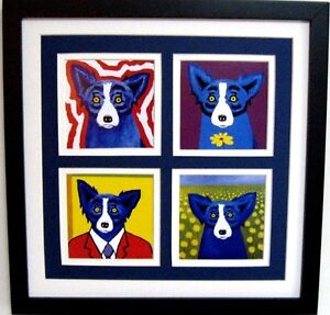 """GEORGE RODRIGUE BLUE DOG NOTE CARD COLLAGE - TRIPLE MATTED - 13.5"""" x 13.5"""""""