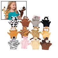 12 Velour Animal HAND PUPPET ASSORTMENT Zoo/Safari/Farm