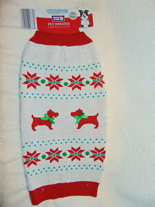 """NWT ~ Dog Christmas Sweater ~Heart To Tail ~  """"Snowflakes-Dogs""""   Size Medium"""