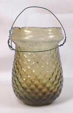 Victorian Christmas Oil Light Candle Fairy Amber Glass Diamond Quilted Antique 2