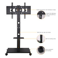 """TV Television Stand Mount Rolling Wheel Cart Heavy Duty for 32 - 70"""" Universal"""