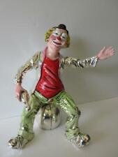 Italian Silver Plated Hand Painted Enamel Clown Sitting On Ball Figurine Ma/762
