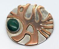 Vintage Sterling Silver Brooch Pin 925 Sculptural Modernist Malachite
