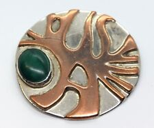 Vintage Sterling Silver Brooch Pin 925 Sculptural Modernist Malachite