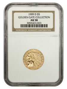 1909-D $5 NGC AU58 - Great Type Coin - Indian Half Eagle - Gold Coin