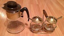 OLD VTG MID CENTURY COFFEE TEA GLASS POT BOWL SPOON SUGAR CREAM SERVING SET
